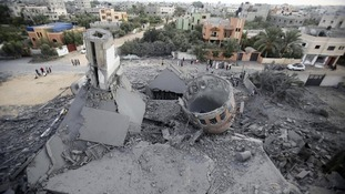 Remains of a mosque in Gaza.