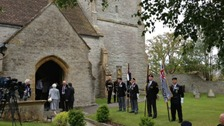 Veterans assemble outside the Fleet Air Arm church in Yeovilton