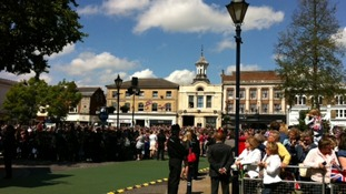 Crowds of people in Hitchin