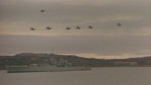 Fleet air arm helicopters in Falklands