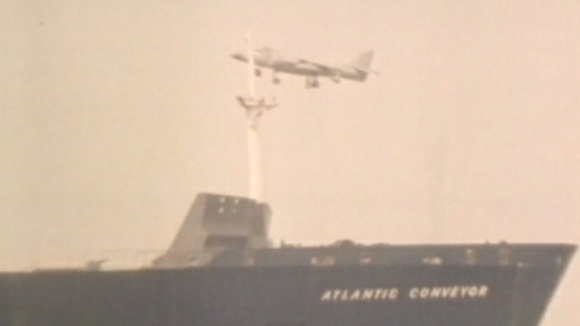 sea harrier and Atlantic Conveyor