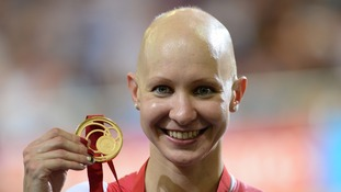 Olympic gold medallist Joanna Rowsell says cycling gave her confidence to confront her alopecia.