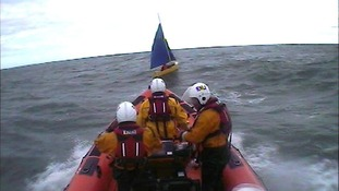 The crew from RNLI Mudeford on their way to rescue the man.