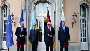 Foreign ministers Laurent Fabius of France, Pavlo Klimkin of Ukraine, Frank-Walter Steinmeier of Germany and Sergei Lavrov of Russia (L-R