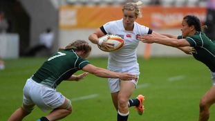 England centre Danielle Waterman in action against Ireland at the IRB Women's Rugby World Cup