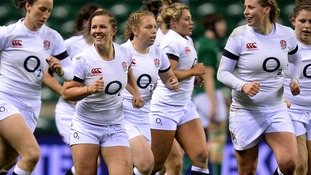England's Marlie Packer, centre, celebrates with her team mates