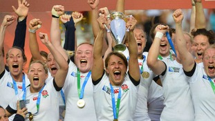 England 's Katy Mc Lean lifts the IRB Women's Rugby World Cup