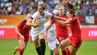 England 's Emily Scarratt during the IRB Women's Rugby World Cup match England v Canada