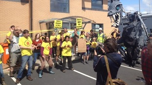 Anti-fracking activists occupy fracking company Cuadrilla's northern headquarters.