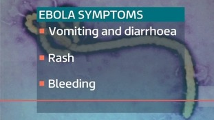 Ebola symptoms include vomiting and diarrhoea, rash and bleeding