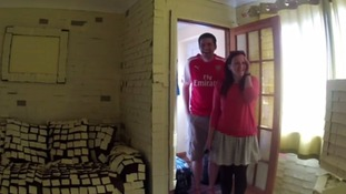 Jamie and Emily Pharro came home from their honeymoon to find their home covered in Post-Its