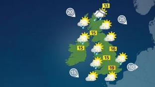 Sunny spells and scattered showers. Feeling cool in the wind