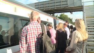 Commuters at Saffron Walden station.