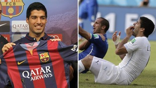 Left: Suarez unveiled a day after his debut in a friendly win against Leon. Right: After biting Italian Georgio Chiellini.