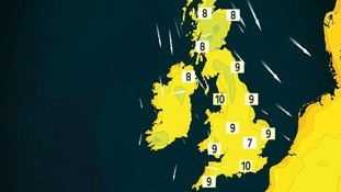 Map showing overnight temperatures on Tuesday night