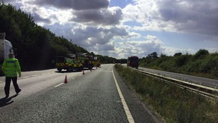 The A14 westbound is closed