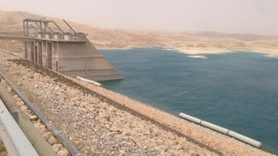 Mosul Dam pictured after Kurdish Peshmerga forces retook control of the complex.