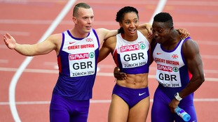 Richard Kilty, Ashleigh Nelson and Harry Aikines-Aryeetey