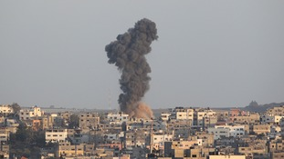 Palestinians said Israel launched 35 air attacks, one of them on a house in Gaza City, which killed the woman and the child, which officials initially said was five.