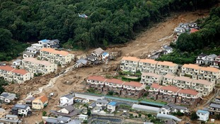 An aerial view shows a landslide that swept through a residential area at Asaminami ward in Hiroshima