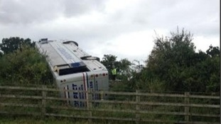 The coach, taking families from Dudley on a trip to the seaside, overturned on the M5 in Gloucestershire.