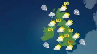 Highs of 20C in the south but still feeling cool for the time of year.