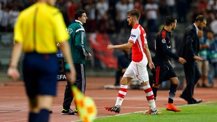 Aaron Ramsey heads to  the dressing room after his red card in Istanbul.