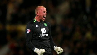 Norwich City's John Ruddy celebrates Bradley Johnson's winner.