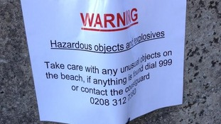 Signs have been put up on the beach.