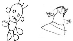 Two examples of drawings by four-year-olds that were rated '10'