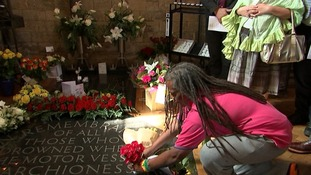 Flowers were placed at the memorial to the Marchioness victims.