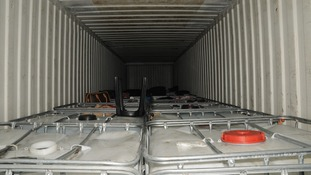 The inside of the container where 35 people travelled into the UK