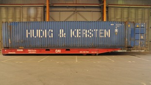 The shipping container seized at Tilbury Docks after shouts were heard coming from inside