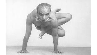 BKS Iyengar practicing yoga