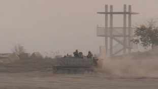 An Israeli armoured vehicle near the border with Gaza.