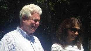 John and Diane Foley speaking outside their New Hampshire home.