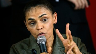 Brazilian politician Marina Silva speaks during a news conference in Brasilia