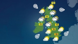There will be highs of 19C in the south but it will still feel chilly.
