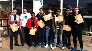 Students celebrate their GCSE results at Burnt Mill Academy in Harlow this morning.