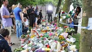 Flowers laid outside Amy Winehouse's home in Camden