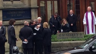 Alan Pardew attends the funeral of Liam Sweeney