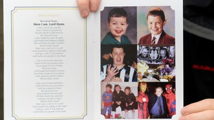Photographs of Liam Sweeney as a boy adorned the order of service.