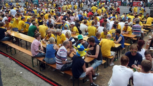 Swedish fans in the fan zone in Kiev.