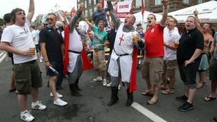 England fans at Euro 2012 move their base to an unofficial location in the fanzone in Kiev, the Ukraine.