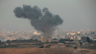 Smoke rises over Gaza today following further airstrikes.