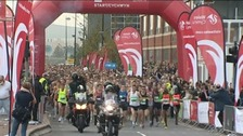 Runners at the start of Cardiff half-marathon