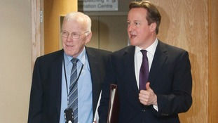Prime Minster David Cameron with Sir Ian Wood, one of the founding fathers of the North Sea oil industry.