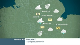 East Midland's weather map for Thursday night