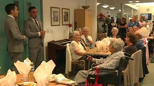 Richard and Adam entertain residents at the Pear Tree Centre in Milton Keynes.