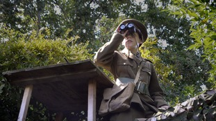Ethan Harvey, 14, surveys enemy lines